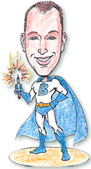 Superhero Caricatures, superhero party, theme party, Bill Wylie